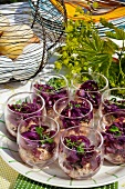 Chicken mousse with a red onion salsa for Easter (Sweden)