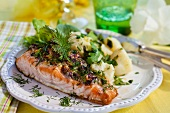 Salmon with parsley potatoes for Easter (Sweden)