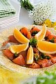 Graved lax with orange vinaigrette for Easter (Sweden)