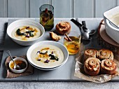 Roasted garlic and parsnip soup with lemon sage butter, onion rolls with cheese and chives