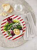 Bean salad with grilled goat's cheese