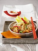 Warm cellophane noodle salad with chicken