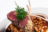Breaded Rack of Lamb with Baked Beans