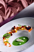 Chilled Sweet Pea Soup with Fromage Blanc and Candied Fruit and Vegetables