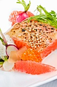 Tasmanian Sea Trout Belly with Sesame Seeds, Garlic, Radishes, Vanilla Roe, Grapefruit and White Soy