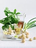 Ingredients for Mint Macadamia Pesto