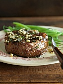Beef Filet with Garlic and Rosemary; Served with Green Beans