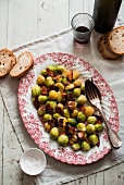 Brussels sprouts with bacon and bread