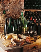 Salami, cheese and bread in a wine cellar (Italy)