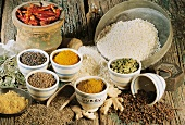 An arrangement of rice and various spices