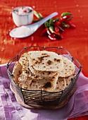 Unleavened bread in a wire basket