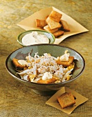 Crab salad with croutons and yoghurt mayonnaise