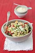 Soy bean salad with green beans, peppers, avocado and yoghurt sauce