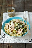 Tagliatelle with salmon, broccoli, capers, dill and a cream sauce