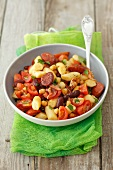 Gnocchi with chorizo, kidney beans and cherry tomatoes