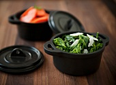 Broccoli Rabe in a Small Cast Iron Pot