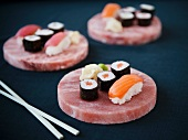 Sushi on Pink Himalayan Salt Plates