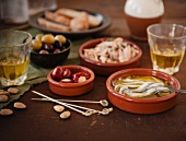 Spanish Tapas with Tuna and Capers, Olives, Anchovies, Cheese Stuffed Peppers, Almonds and White Wine
