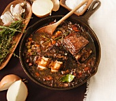 Braised Beef and Vegetables in a Cast Iron Skillet; From Above