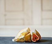 Two Wedges of Blue Cheese with Honey and Figs