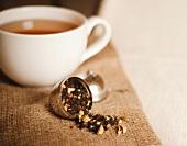 Tea Infuser Spilling Loose Chai Tea; Cup of Chai Tea