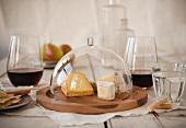 Cheese Dome with Assorted Cheese; Red Wine and Crackers