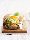 A veggie burger made of lentils
