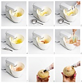 Muffins being decorated with cream