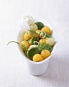 Avocado salad with apple and mango balls