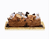 Buche De Noel (French Christmas cake) with coffee cream