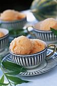Melon ice cream in cups