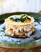 Mille feuilles with stock fish puree