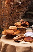 Various types of bread, brioche and tart