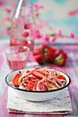 Spelt pasta with fresh strawberries