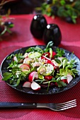 Mixed leaf salad with radishes on a black plate on a table with a red cloth