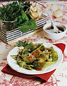 Pasta with herbs and chard