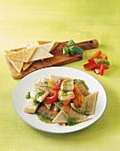 Testaroli col pesce spada (pasta speciality with swordfish)