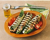 Grilled courgettes with salsiccia