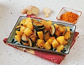 Sweet potatoes and aubergines with curry and ginger (Indonesia)
