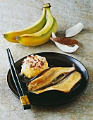 Fried banana with ice cream and coconut (Thailand)