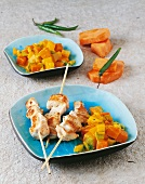 Chicken kebabs with vegetables (Malaysia)