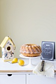 Pumpkin Bundt cake on a kitchen cupboard