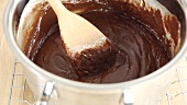Chocolate fudge mixture in a pot