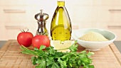 Ingredients for tabbouleh (Lebanese bulgur salad)