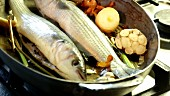Oil being heated in a pan, vegetables and trout being added and fried
