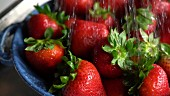 Fresh strawberries being washed in a colander