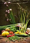 Fresh Garden Vegetables on Wood