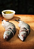 Two Whole Branzino Fish Stuffed with Lemon, Thyme and Butter