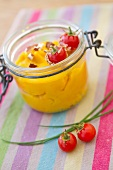 Pumpkin puree with cherry tomatoes