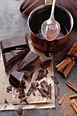 Chocolate and cinnamon sticks